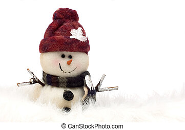 snowman standing in snow on white background