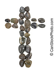 black pebbles cross