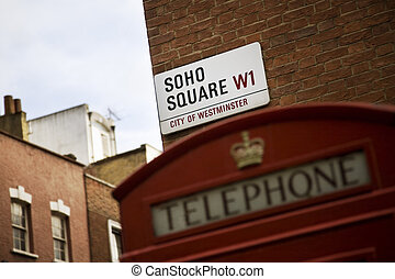 soho - detail of soho square in london and a typical phone...