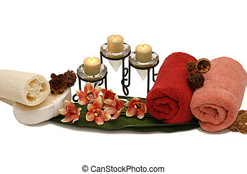 Spa - Orchid, towels, candles, wash sponges in a spa