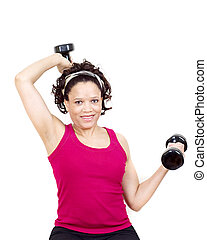 Working out - Woman working out on white background