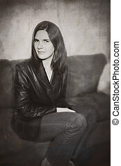Couch portrait. - A grunge portrait of a woman on a couch.