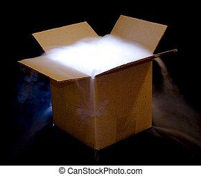 Box-heavy fog - A cardboard box illuminated from within,...