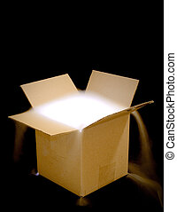 Fog-box medium - A cardboard box illuminated from within,...
