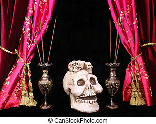 Skull with Incense on Black and Red Background