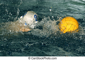 Water Polo - The image of a yellow ball on water