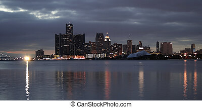 Buildings in Detroit - Down town Detroit sky lane in the...