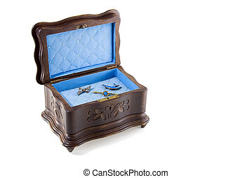 Antique Jewellery Box - Antique Musical Jewellery Box with...