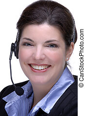 Customer Service - Pretty Brunette Customer Service Agent...