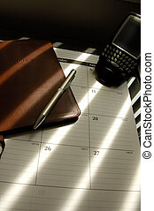 Desktop - Businessmans Desktop With Planner, PDA And Journal...