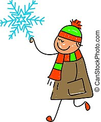 snowflake kid - happy little boy holding a snowflake -...