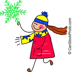 snowflake kid - happy little girl holding a winter snowflake...