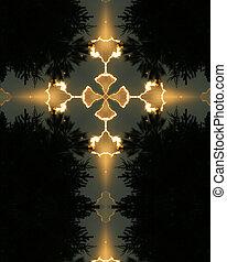 Morning Tree Cross1 - kaleidoscope cross: tree silhouette,...