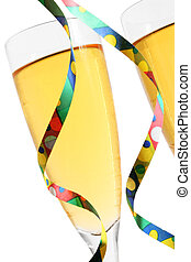 Champagne and Streamers - Champagne glasses with party...