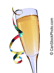 Champagne Party - Champagne glass with blue hue and party...