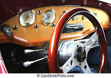 Steering Wheel - steering wheel of old car in mi