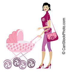 Young lady and pram - Young mother standing nera pram