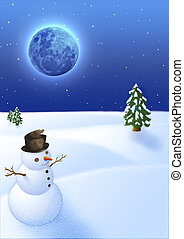 snowman under the moon - snow landscape with funny snowman...