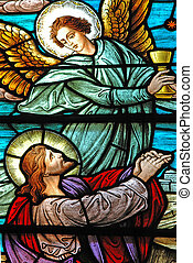 Jesus and Angel - Stained glass window, in 19th century St...
