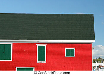 Buildings on the waterfront at Lunenburg, Nova Scotia,...