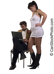 Chat people - Young business couple with laptop, man...