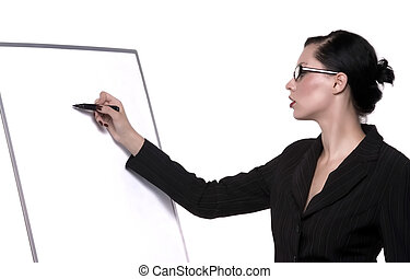 writing - lady with glasses writes on board