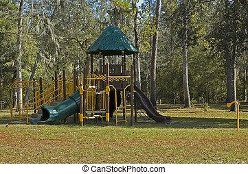 Modern Playground - Modern playground equipment with slides...