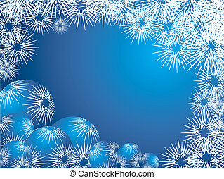 Winter background with snowflakes and decorations