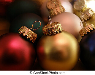 Christmas Ornaments - Extreme closeup of Christmas ornaments...