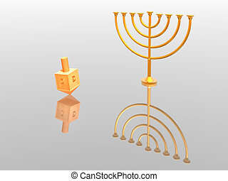 Menorah - Hanukkah illustration. Menorah. 3D. Look my...