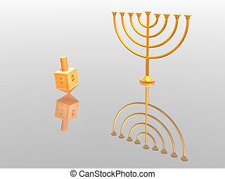Menorah - Hanukkah illustration. Menorah. 3D. Look my...