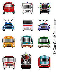 Transportation icons - Old and new model public...