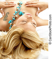 dreaming blond in bed - portrait of dreaming blond laying in...