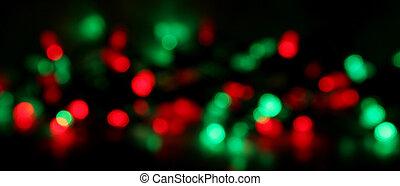 Christmas Light Blur - Red and green Christmas lights,...