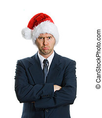 Sad x-mas - pouting man in blue suit on white background
