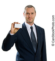 Card time - man in blue suit holding up a business card