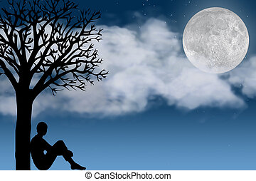Moon - Silhouette of a Person Sitting By a Tree Looking at...