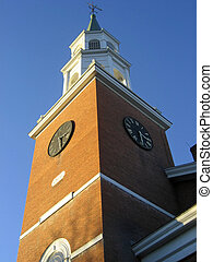 Church Tower and Sky - Clock tower of historic church in...