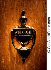 Welcome - Brass door knocker on a wooden door.