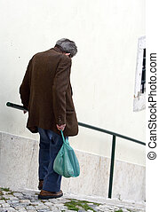 Old age - Old man on the stairs