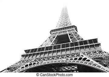 Eiffel Tower in greyscale - Eiffel Tower in high contrast...