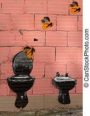 Graffiti - Colorful graffiti depicting toilet. Picture taken...