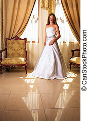 bride in white and grey dress - Bride with long loose hair...