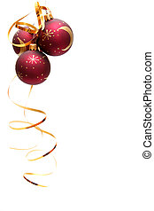Red christmas bulbs - Red decorated christmas bulbs on a...