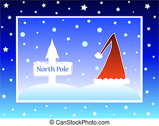 Christmas santa hat with north pole direction board