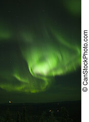 Swirling northern lights - Northern lights in dark night sky