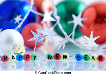happy new year - new year, postcard, reflection, decoration,...