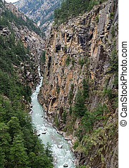 Canyon - Confluent of Ganga Bhagirathi close to its source,...
