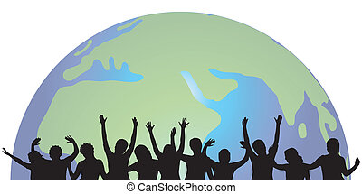 people silhoeuttes - people silhouettes with world...