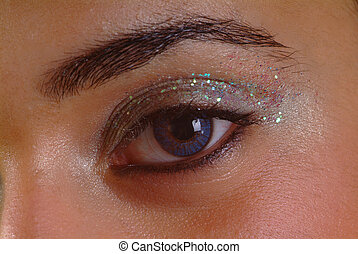 open eye - right eye open with glitter eyeshadow